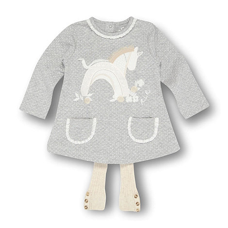 RJR.John Rocha - Designer babies grey horse applique dress and tights