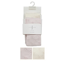 J by Jasper Conran - Designer babies pack of two pink and cream bow tights