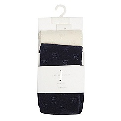J by Jasper Conran - Designer babies pack of two navy and cream bow tights