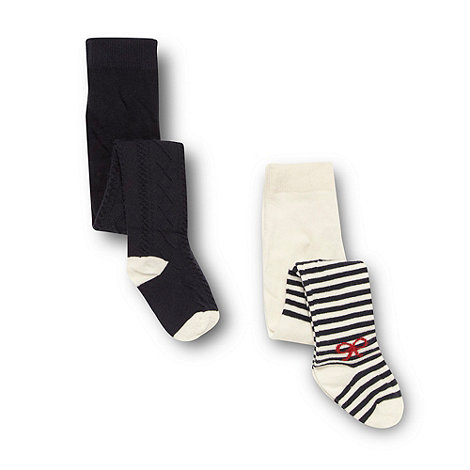 J by Jasper Conran - Designer babies pack of two navy cable knit and cream striped tights