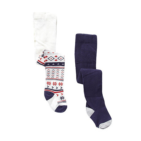 bluezoo - Babies pack of two navy fairisle tights