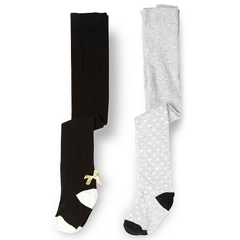 Star by Julien Macdonald - Designer babies pack of two black and grey spotted tights