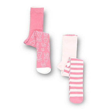 bluezoo - Girl's pack of two pink cat tights
