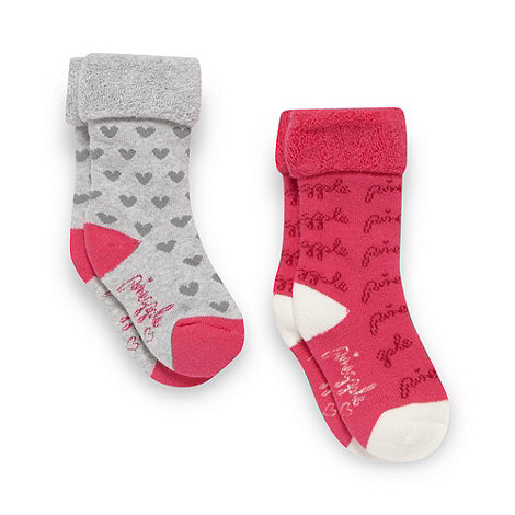 Pineapple - Babies pack of two pink and grey towelled socks