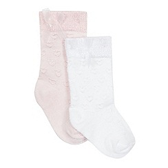 J by Jasper Conran - Designer babies pack of two pale pink and white heart socks