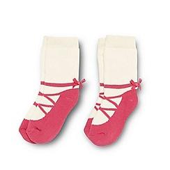 J by Jasper Conran - Designer girl's pack of two pink towelled ballet socks