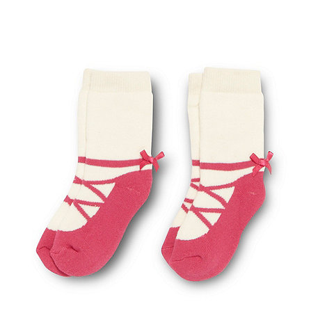 J by Jasper Conran - Designer girl+s pack of two pink towelled ballet socks