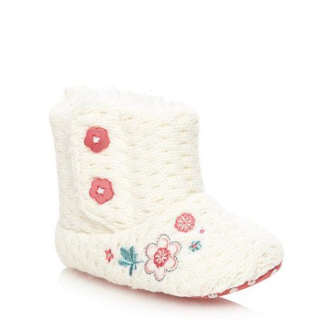 RJR.John Rocha - Designer babies cream floral knitted booties