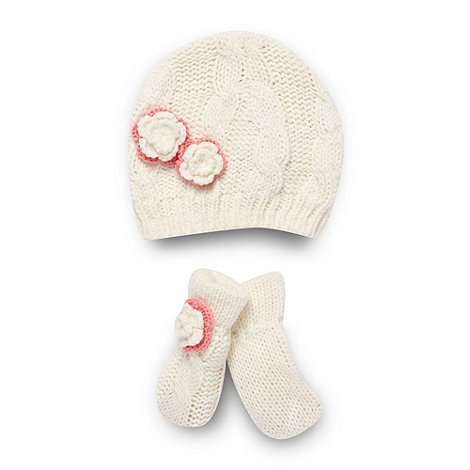 RJR.John Rocha - Designer babies cream cable knit hat and mittens set
