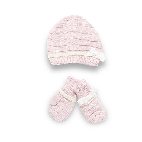 J by Jasper Conran - Designer babies pink knitted hat and mittens set