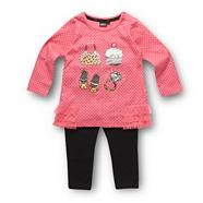 Designer babies pink printed dress and black leggings