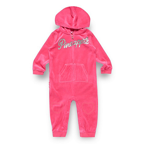 Pineapple - Babies pink velour suit