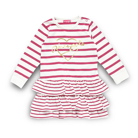 Pineapple - Babies pink striped frill dress