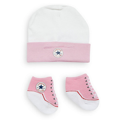 Converse - Babies pink hat and booties set