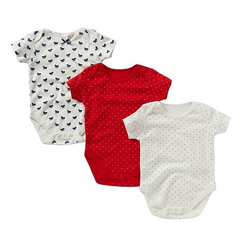 bluezoo - Pack of three babies white bow bodysuits