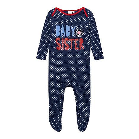 bluezoo - Babies navy +Baby Sister+ sleepsuit