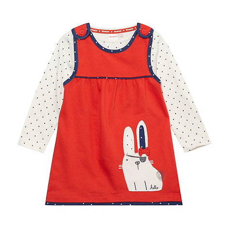 bluezoo - Babies red rabbit pinafore and t-shirt set