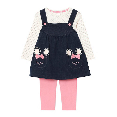 bluezoo - Babies navy pinafore, t-shirt and leggings set