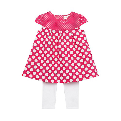 bluezoo - Babies pink spotted tunic and leggings set