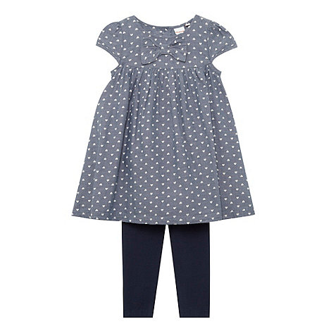bluezoo - Babies navy chambray heart tunic and leggings