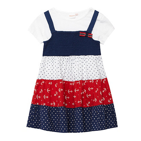 bluezoo - Babies navy mix and match nautical pinafore and t-shirt