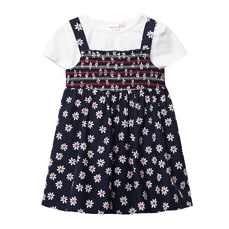 bluezoo - Babies navy daisy pinafore and t-shirt