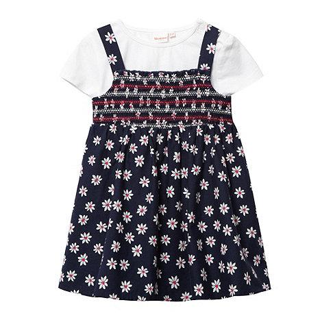 bluezoo - Babies navy daisy pinafore and t-shirt