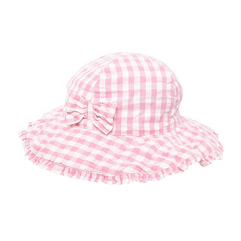 bluezoo - Babies pink gingham checked sun hat