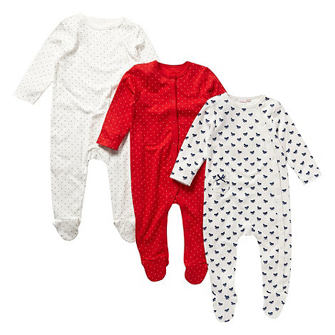 bluezoo - Babies pack of three cream and red spotted and bow printed sleepsuits