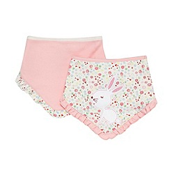 bluezoo - Babies pack of two pink rabbit dribble bibs