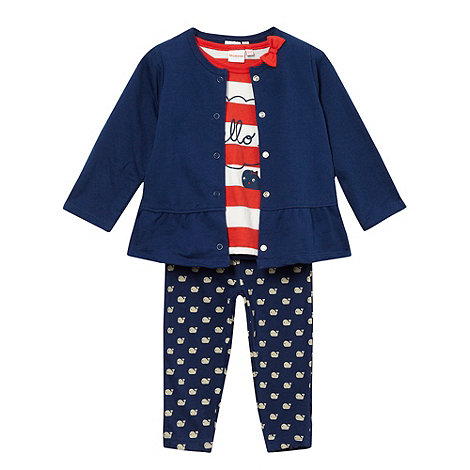 bluezoo - Babies navy whale t-shirt cardigan and leggings set