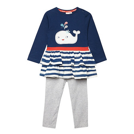 bluezoo - Babies navy striped top dress and leggings set
