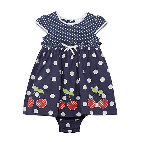 bluezoo - Babies navy spotted cherry dress and briefs