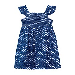 bluezoo - Babies dark blue spotted shirred dress
