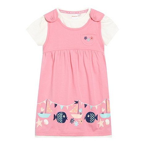 bluezoo - Babies pink bird printed pinafore and top set