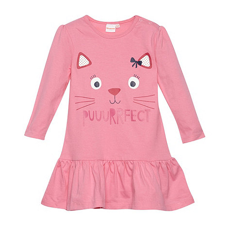 bluezoo - Babies pink cat face printed dress