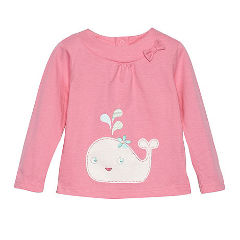 bluezoo - Babies pink applique whale top