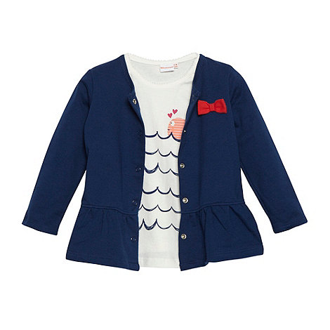 bluezoo - Babies navy waves t-shirt and cardigan