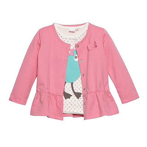 bluezoo - Babies aqua bird t-shirt and peplum cardigan set