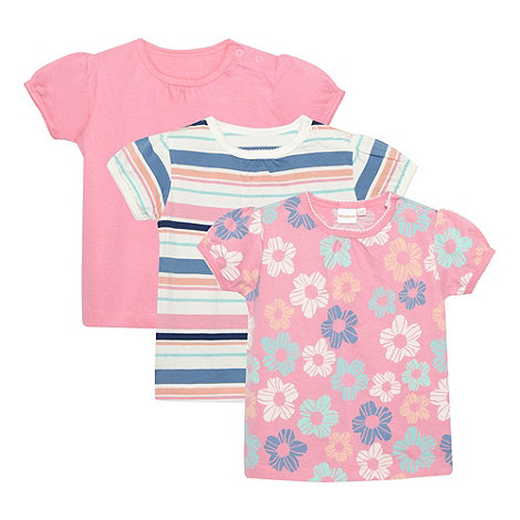 bluezoo - Babies set of three pink floral and striped t-shirts