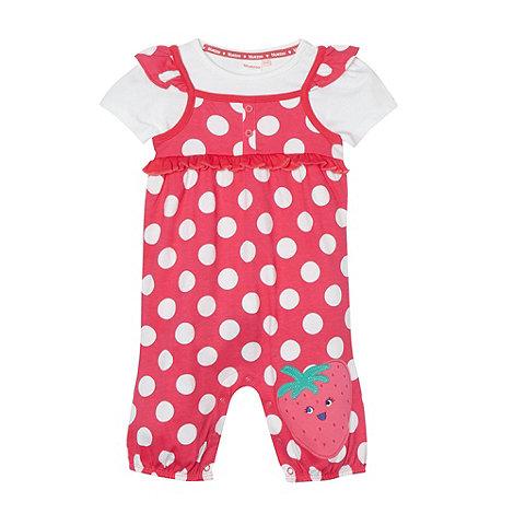 bluezoo - Babies pink strawberry bibshorts set