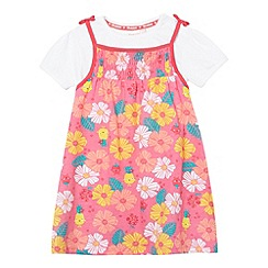 bluezoo - Babies pink floral jersey pinafore and t-shirt set