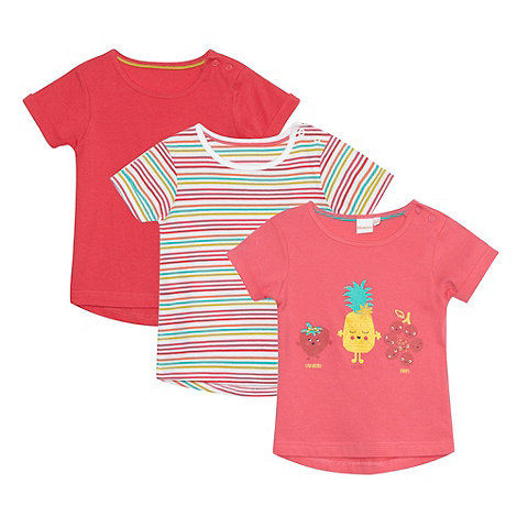 bluezoo - Pack of three babies pink t-shirts