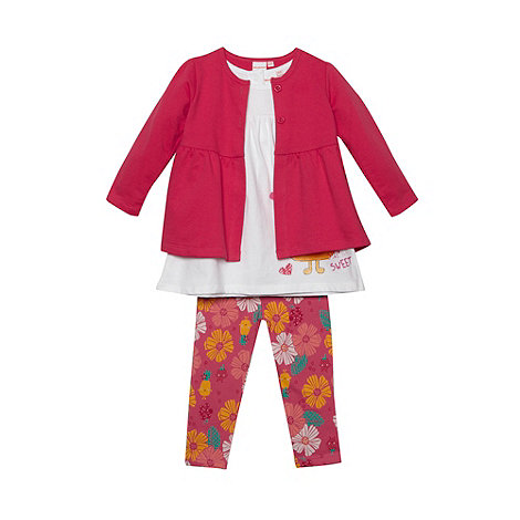 bluezoo - Babies pink cardigan tunic and leggings set