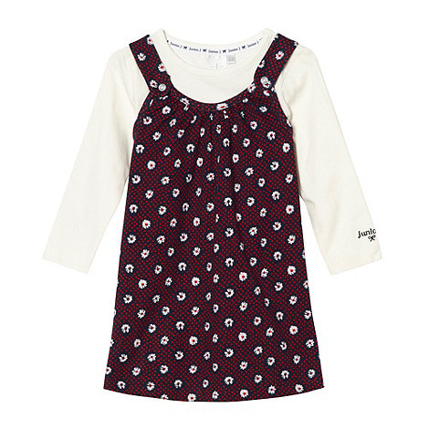 J by Jasper Conran - Designer babies navy ditsy pinafore and t-shirt set
