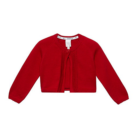 J by Jasper Conran - Designer babies red scalloped trim cardigan