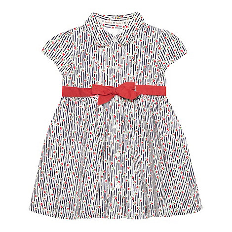 J by Jasper Conran - Designer babies navy striped floral button dress