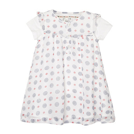 J by Jasper Conran - Designer babies blue spotted chiffon pinafore and t-shirt set