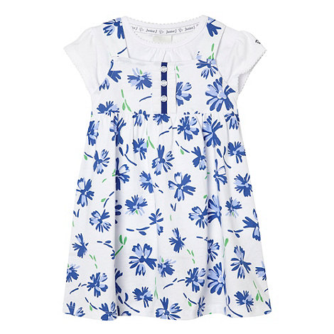 J by Jasper Conran - Designer babies white floral pinafore and t-shirt set