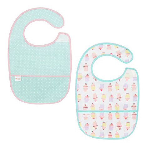 bluezoo - Girl+s turquoise cupcake pocket bibs